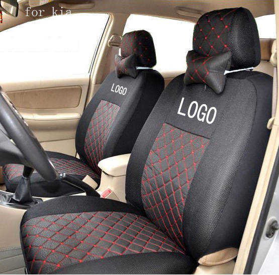 Front 2 Seat Cover For Kia Rio Sportage Ceed Cerato Soul Cotton Mixed Silk Grey Black Red Beige Embroidery Logo Car Covers Four Seasons