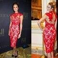 Sexy Red Beautiful Lace Short Cocktail Dresses Prom Coctail Dress for Party jurk vestidos de coctel