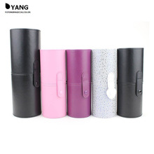 5 Colors Empty Portable Makeup Brush Round Pen Holder Cosmetic Tool PU Leather Cup Container Solid Case