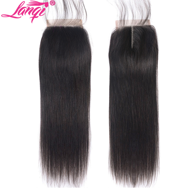 Straight Hair Closure Free Middle Three Part Non remy Brazilian Human Hair Extension 4x4 Swiss Lace Top Closure With Baby Hair