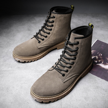 Купить с кэшбэком Boots for Men Winter Snow Boots Warm Fur&Plush Boots Men Lace Up High Top New Fashion Men Shoes Sneakers Big size 38 39 45 46 47