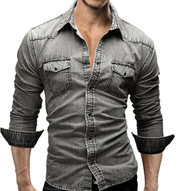 e8377b285fe 2017 Fashion Handsome Brand Design Men Shirt Slim Fit Double Pocket Denim  Shirts Turn-down Collar Long Sleeve Shirts Grey Cotton