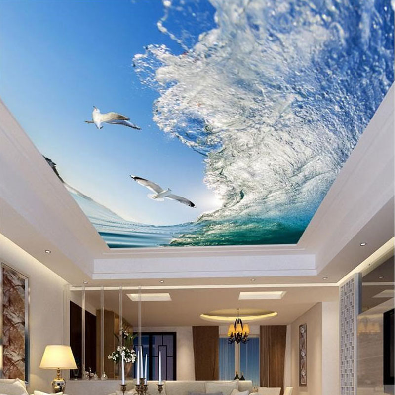 Custom mural 3d ceiling wallpapers sea waves seagulls for Ceiling mural wallpaper
