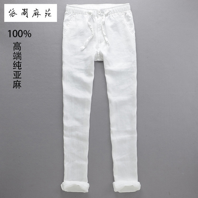 Hot 2016 Summer Men Linen Casual Pants Slim Fit Straight Male Breathable Fluid Long Trousers Men Elastic Belts Imported Clothing