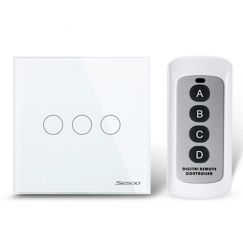 New Remote Control Switch 3 Gang 1 Way,Crystal Glass Switch Panel,Wall Light Touch Switch+LED Indicator smart home us black 1 gang touch switch screen wireless remote control wall light touch switch control with crystal glass panel