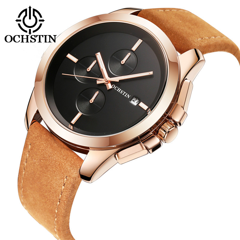 2017 New Ochstin Luxury Brand Watches Men Quartz Fashion Casual Male Sports Watch Date Clock Leather Military Wristwatches