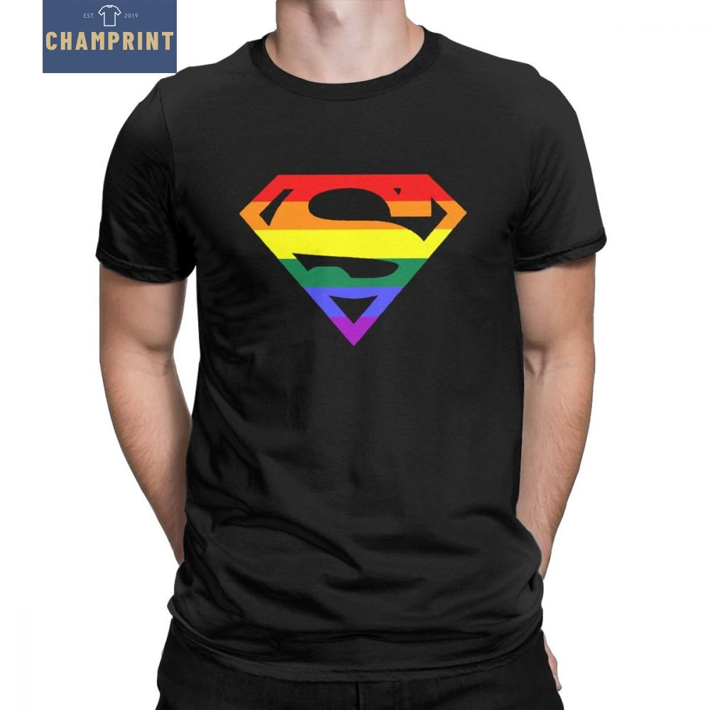Super Queer T Shirts Men Rainbow Gay Lesbian Pride LGBTQ LGBT Plus Size Clothes Short Sleeve T-Shirt O Neck Cotton Tees Tops