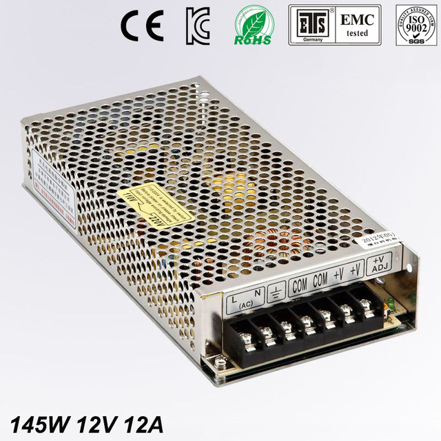 single output 12V 12A 145W Switching Power Supply AC to DC Universal Regulated Adapter For LED display Strip light