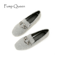 Woman Shoes 2017 Flock Casual Loafers Square Toe Autumn Flats Buckle Slip On Large Size 43