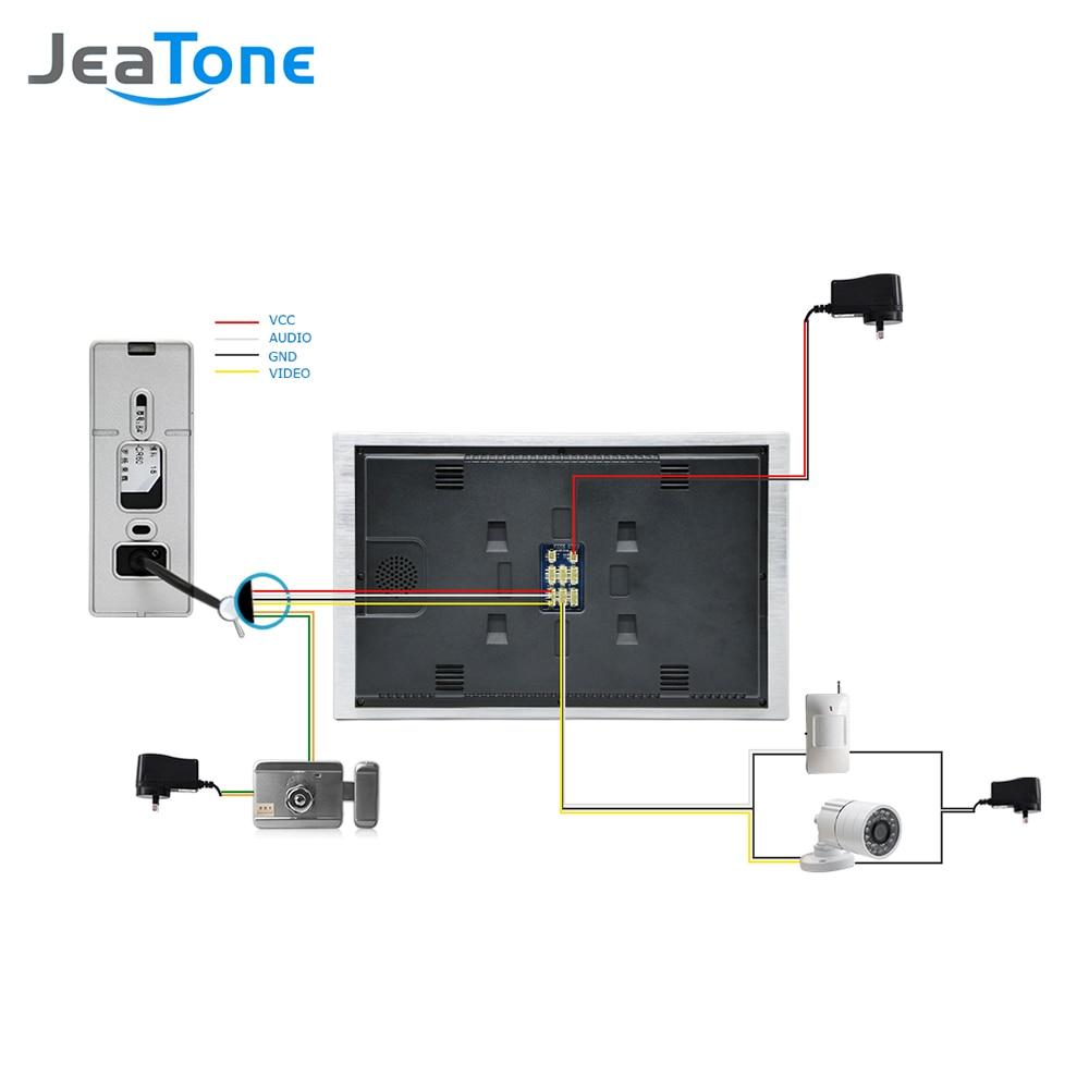 """Купить с кэшбэком JeaTone 10"""" 4-wired Door Phone Video Intercom Video doorbell monitor Intercom + Extra 1200TVL Security Camera Waterproof System"""