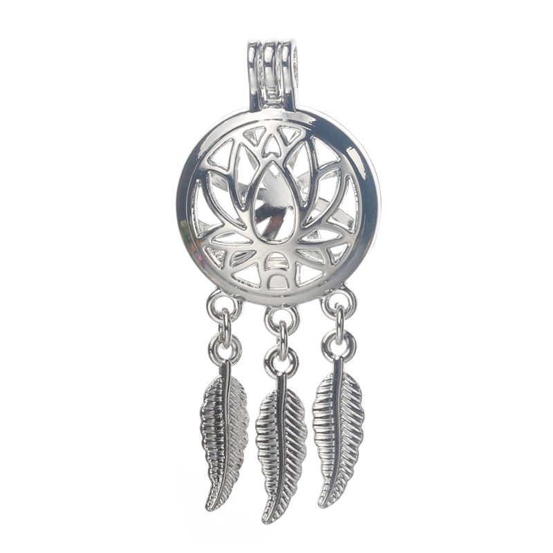 6pcs Silver Dreamcatcher Life LOTUS PEARL CAGE เครื่องประดับทำลูกปัดจี้น้ำมันหอมระเหย Diffuser Locket สำหรับ Oyster Pearl