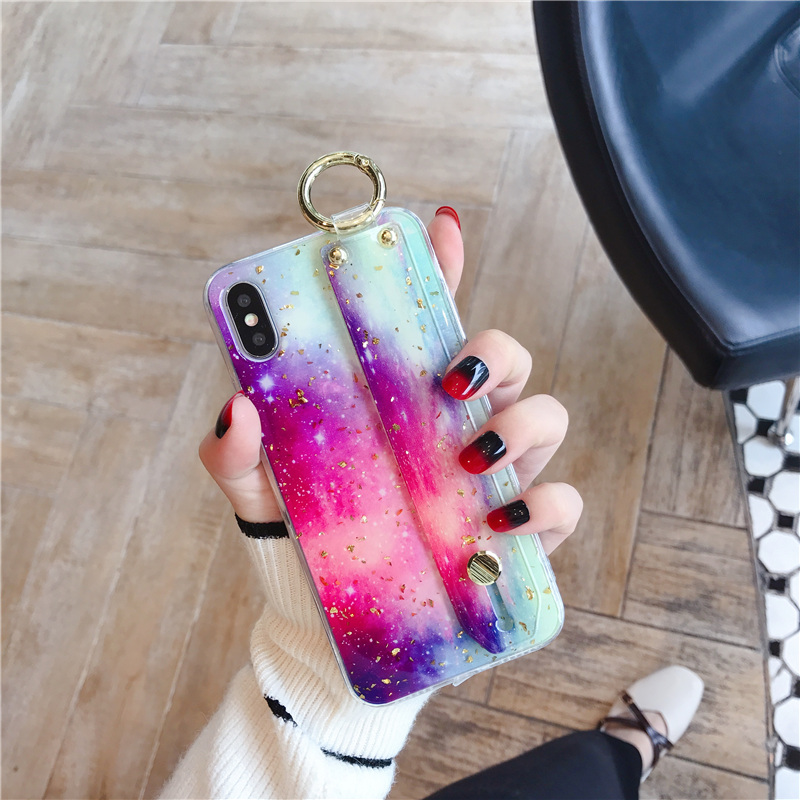 7 SoCouple Wrist Strap Soft TPU Phone Case For iphone 7 8 6 6s plus Case For iphone X Xs max XR  Marble Gold Foil Holder Case