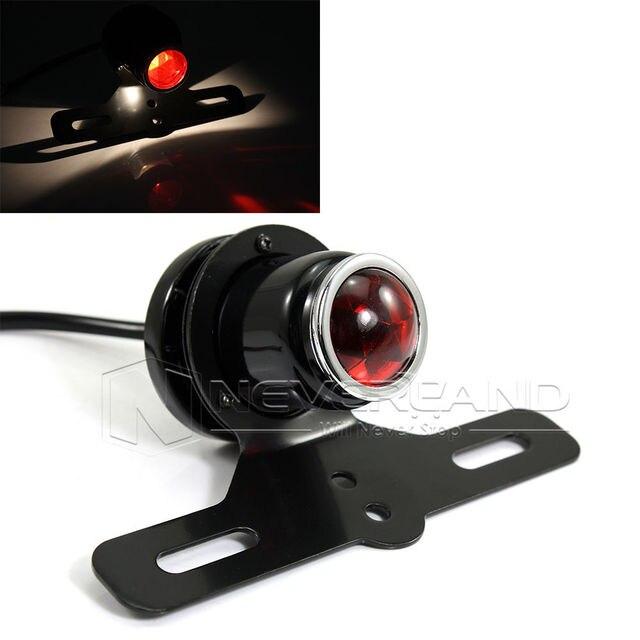 Black Universal Motorcycle License Plate Rear Brake Tail Light Lamp for Harley Bobber Chopper Cafe Racer D15