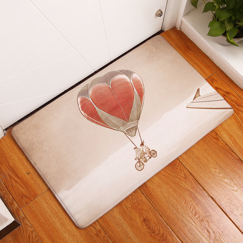 9daa4a61735e72 Flannel Floor Mats Hot Air Balloon Printed Bedroom Living Room Carpets  Cartoon Pattern Mat for Hallway Anti-Slip Tapete