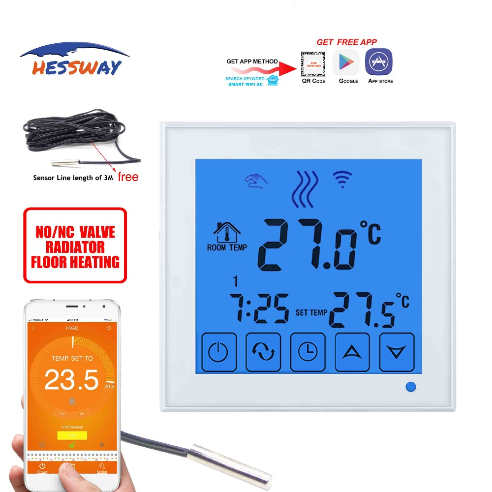 HESSWAY Dual sensor water heating radiator wifi thermostat temperature controller for voice interaction