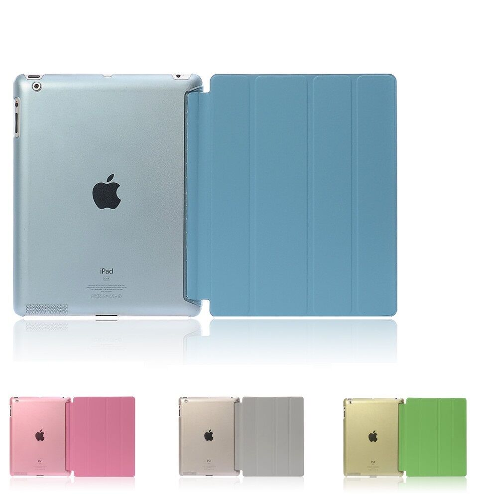Ultra Slim Four Fold PU Leather with Crystal Hard Back Smart Stand Case Cover for iPad 2 iPad 3 iPad 4 smart case for ipad mini 4 case transformer folding with stand slim pu leather transparent back cover for ipad mini4 7 9