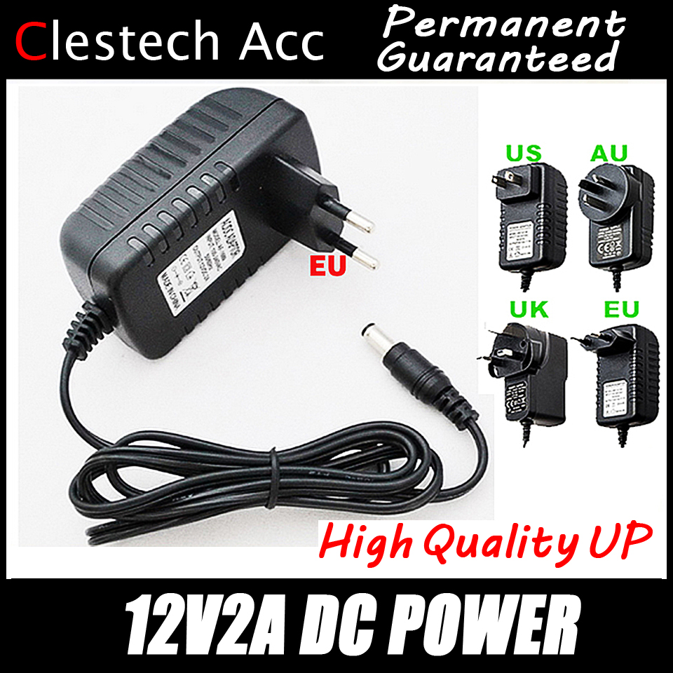 1PC Free 12V2A AC 100V-240V Converter Adapter DC 12V 2A 2000mA Power Supply EU Plug 5.5mm X 2.1-2.5mm For LED CCTV Free Shipping