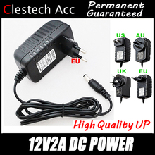 2017sale!12V2A AC 100V-240V Converter Adapter DC 12V 2A 2000mA Power Supply EU Plug 5.5mm x 2.1-2.5mm for LED CCTV Free shipping