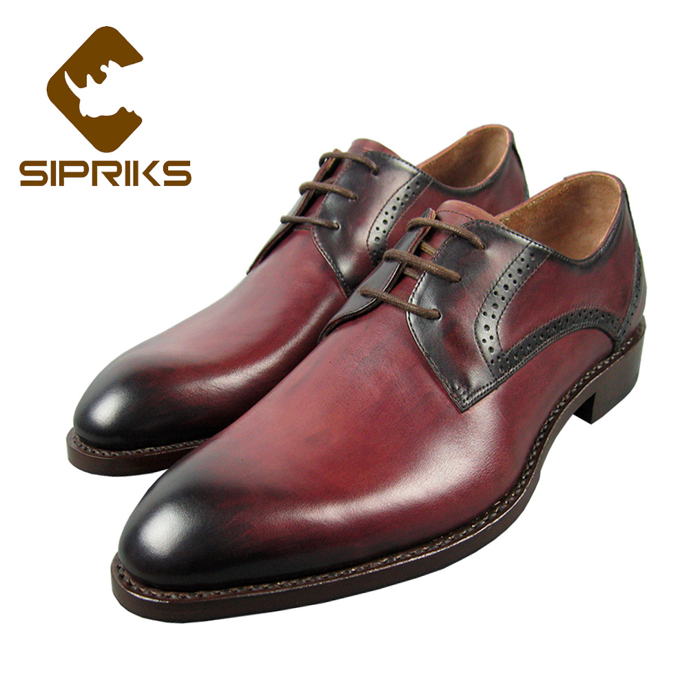 Sipriks Genuine Leather Rose Red Dress Shoes For Men Italian Custom Goodyear Welted Shoes Top Quality Formal Tuxedo Shoes Boss sipriks mens goodyear welted shoes italian hand made men s crocodile leather suits men shoes boss dress shoes blue tuxedo shoes