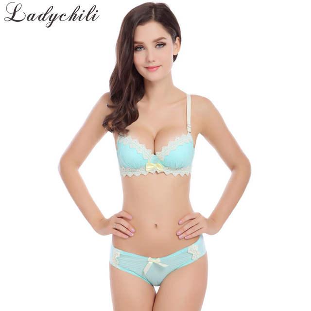 e4d43d1290 Lace Pink Lolita Lingerie Women Bra Set Push Up Bra sets Brand Cute  Japanese Bra Conjunto