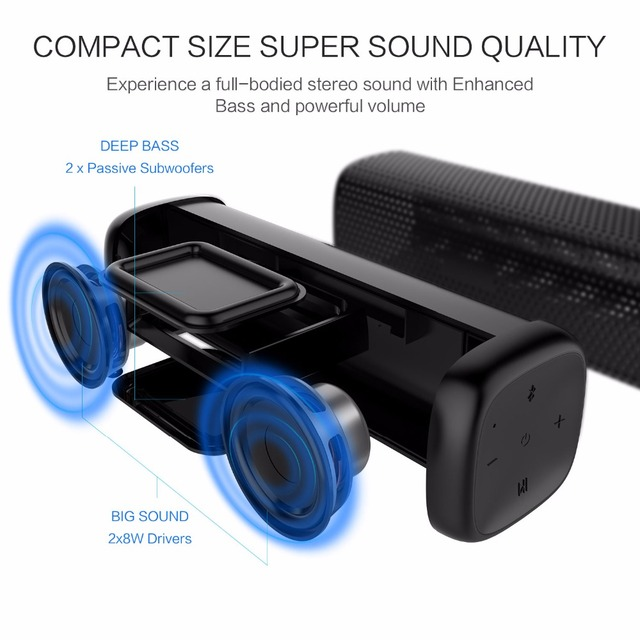 Cowin 6110 Bluetooth 4.1 Stereo Portable Speaker with 16W Enhanced Bass TF Card 5