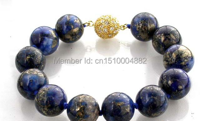 "shitou 00298 AAA 8"" 14mm nature round lapis lazuli bracelet bangle"