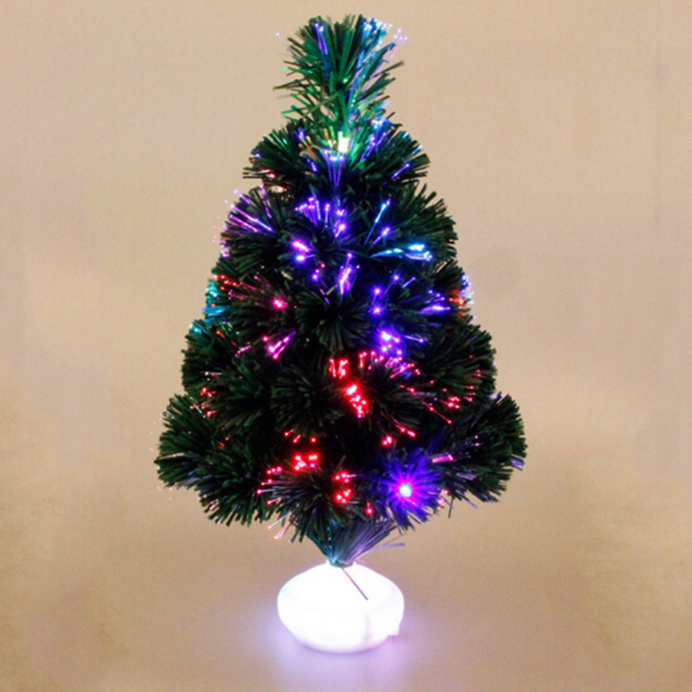cute mini christmas tree 45cm fiber optic tree with led luminous lanterns emulation christmas decorations without battery hot in trees from home garden on