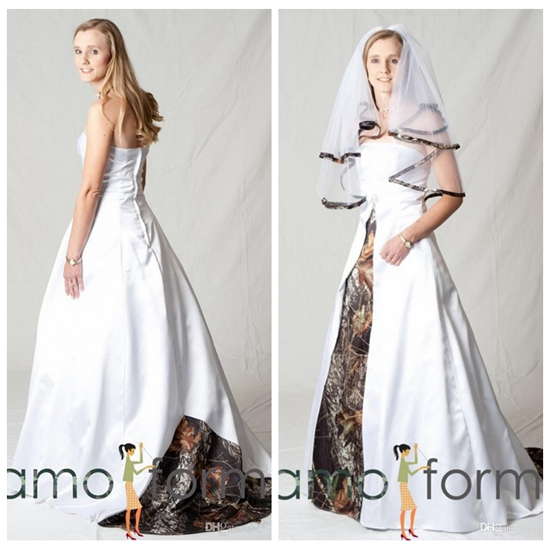 Weddings & Events Official Website 2019 Strapless A-line White Satin Wedding Dresses Camo Bridal Gowns Custom Vestidos De Marriage Cheap Real Tree Camouflage