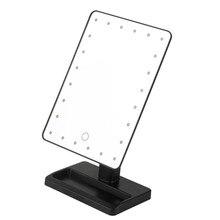 Square Shpe Desktop Adjustable Brightness LED Facial Makeup Mirror Women Bedroom Tabletop Make up Cosmetic Mirror