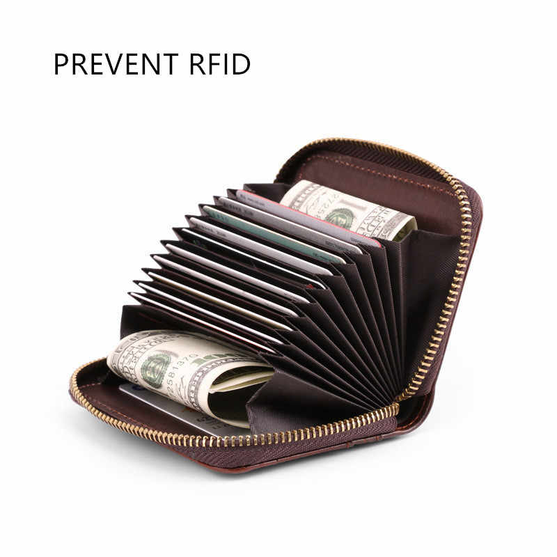 Visitenkarte Halter Männer Vermeiden RFID Brieftasche Bank/ID/Kreditkarte Halter Brieftasche Schwarz/kaffee/braun kuh Leder Anti RFID Karte Fall