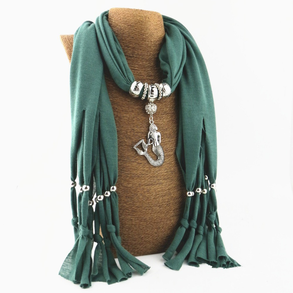 2017 New Hot New Mermaid Pendant Fashion Necklace Scarf Women's Scarves In Autumn And Winter Jewelry Scarf