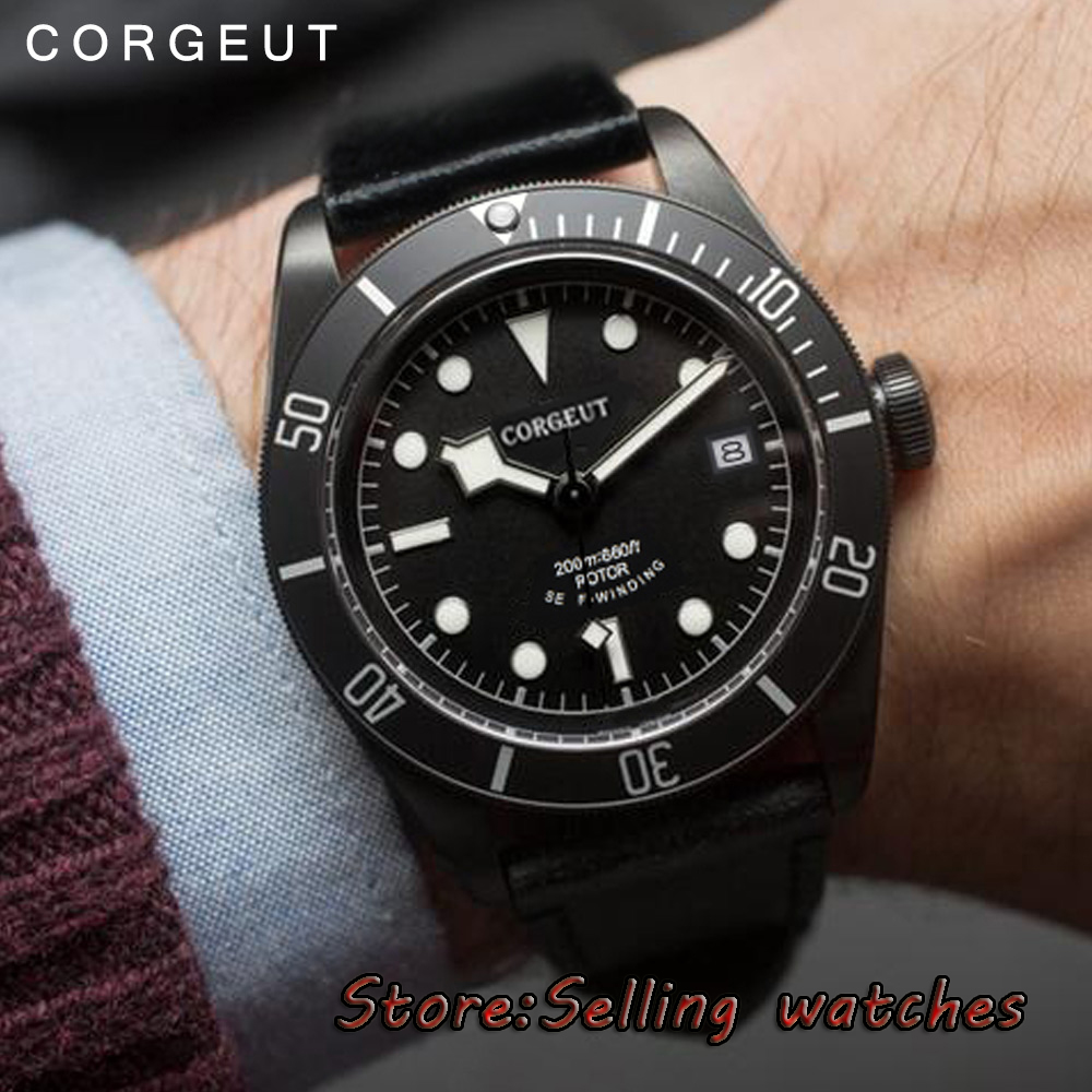 41mm corgeut black sterile dial PVD case date Sapphire Glass miyota 8215 Automatic diving mens watch 41mm corgeut black dial sapphire glass 21 jewels miyota automatic diving mens watch