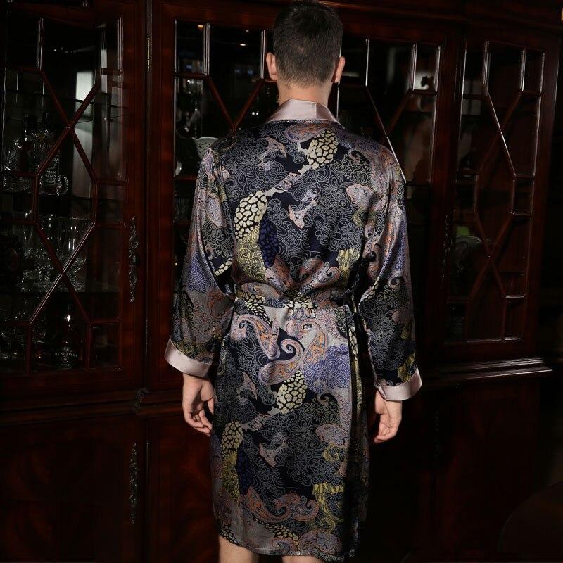 100% Silk Robes Male Autumn Long-Sleeve Robe Fashion Printed Bathrobe Kimono Silkworm Silk Men's Sleepwear Kimono