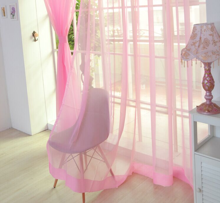 13 Color Solid Tulle Curtains Terylene Voile Gauze Curtains for wedding Living Room Kitchen Balcony Translucidus Decor Curtains-in Curtains from Home ...