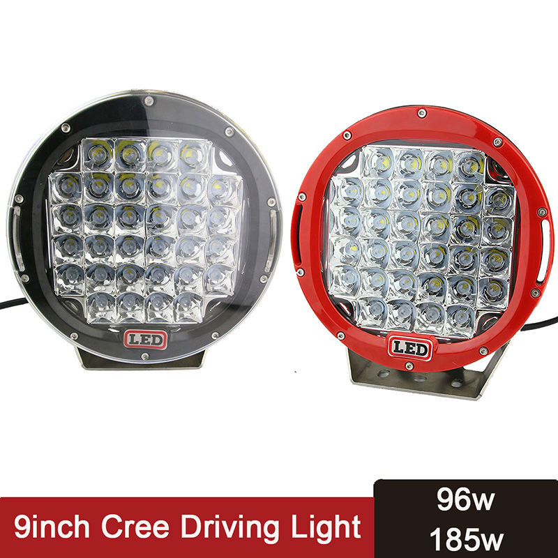 9 дюймов 96 Вт светодиодный свет 185 Вт LED дальнего света Spotlight работа лампы Off Road круглый Рабочая Освещение offroad Туман Внешнее освещение