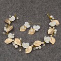 Hecho a mano de La Vendimia de la Hoja de Oro Pedazo Del Pelo de La Boda Nupcial de La Perla Floral Vid Pelo Cabeza Celada de Novia Elegante Accesorio de La Joyería de Baile