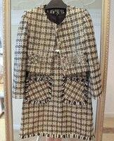 Удивительный комплект из 2 предметов, Tweed Crop Top куртка + матч комплект с платьем, элегантные офисные комплект мода Conjunto feminino, большие размеры XS
