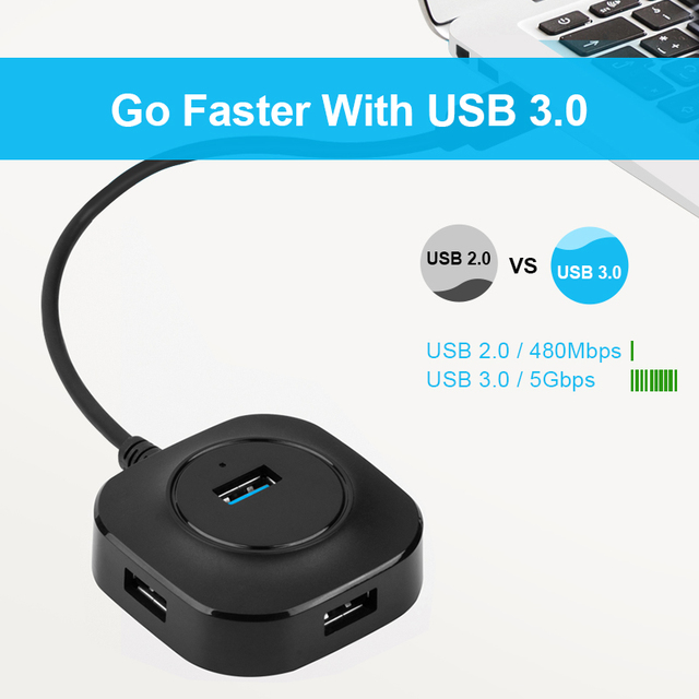 USB HUB USB 3.0 HUB Splitter USB Multipla Hab 2.0 Multi Hub di Espansione 4 Port HUB per PC Del Computer Portatile 3
