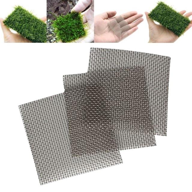5pcs Aquarium Fish Tank Stainless Steel Wire Mesh Pad Plants Moss Net Decor 8x8cm Used For