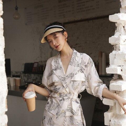 Women summer thin  print blazer with belt blazer 2019 Casual Suits Karachi