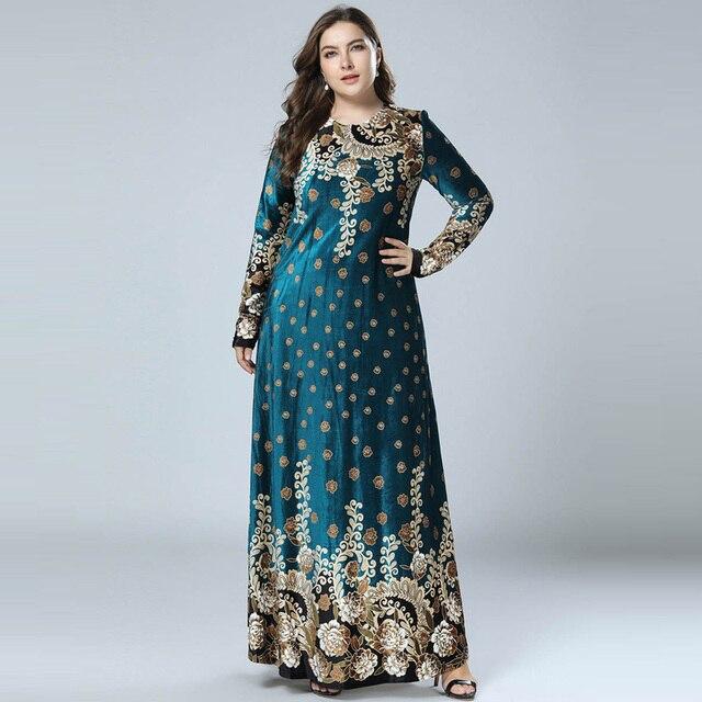 Bronzing Print Velvet Abaya Muslim Maxi Dress Islamic Arabic Abayas Long  Sleeve Dress Pakistani Dubai Dresses for Women M-4XL eefefd865e55