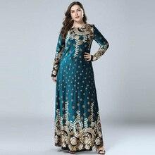 Vestido largo musulmán de terciopelo con estampado bronceado, Abayas árabe islámico, manga larga, vestidos paquistaníes de Dubái, M 4XL