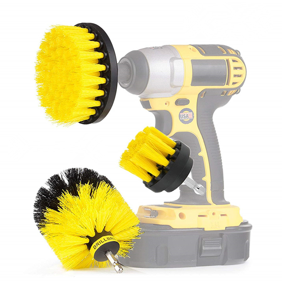 3 pcs/set Power Scrubber Brush Drill Brush Clean for Bathroom Surfaces Tub Shower Tile Grout Cordless Power Scrub Cleaning K Pakistan