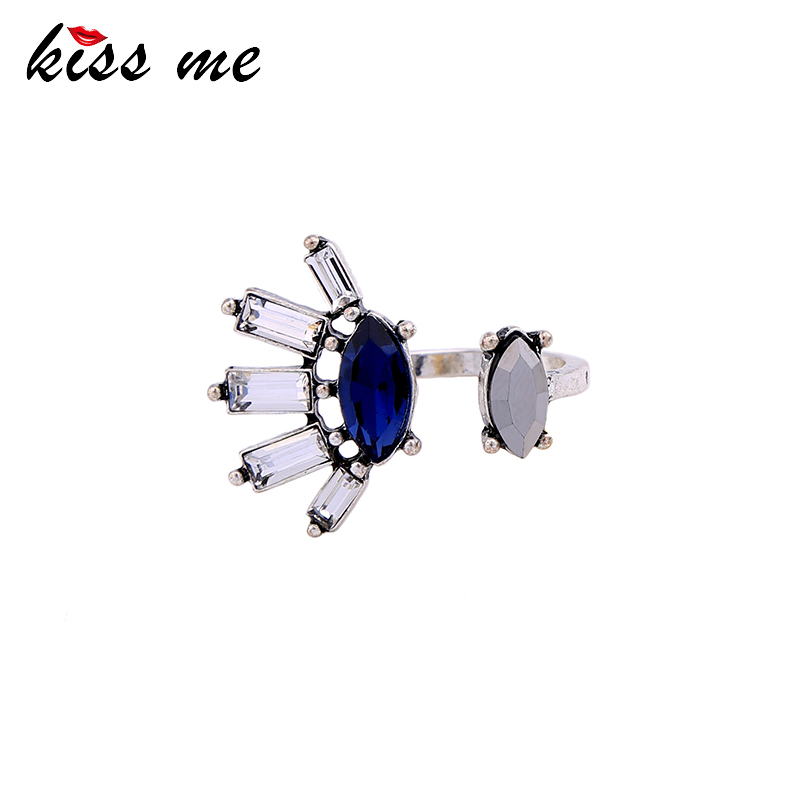 KISS ME Antique Silver Color Geometric Vintage Rings for Women New Design Blue Jewelry Accessories