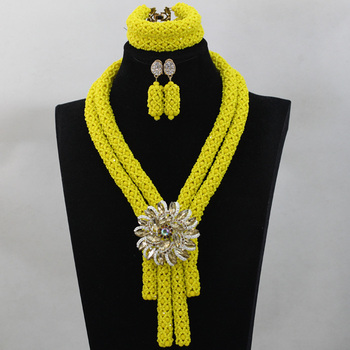 Trendy Yellow African Costume Crystal Beads Jewelry Sets Nigerian Statement Wedding Bride Party Neckalce Set Free shipping QW248