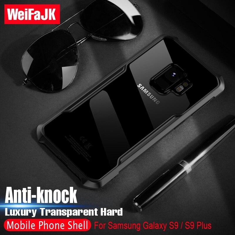 WeiFaJK Transparent De Luxe Cas de Téléphone pour l'iphone Samsung Galaxy S9 S9 Plus effacer TPU + PC Cas Dur HD Couverture Arrière pour Galaxy S9