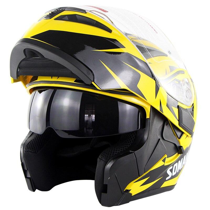 Casque Moto intégral motard Casque Moto jaune haute qualité ABS Casque Motocross Capacete double lentille ECE Flip Up Casco Moto