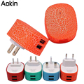 Aokin luz led usb cargador de la ue ee.uu. reino unido au plug 5 v 2a 2 puertos de carga adaptador de corriente de pared para iphone 5 6 s para samsung xiaomi charge