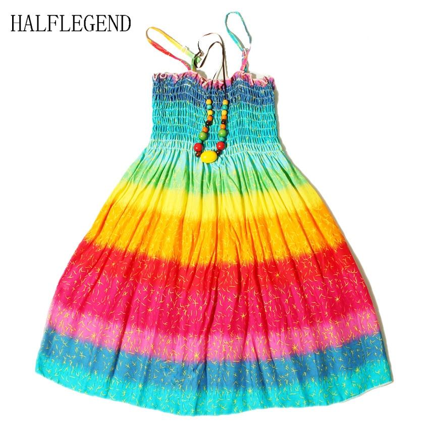 2017 New Summer Bohemian Girls Dress Orange Flower Girls Beach Dresses Princess Dress Cotton Dresses For