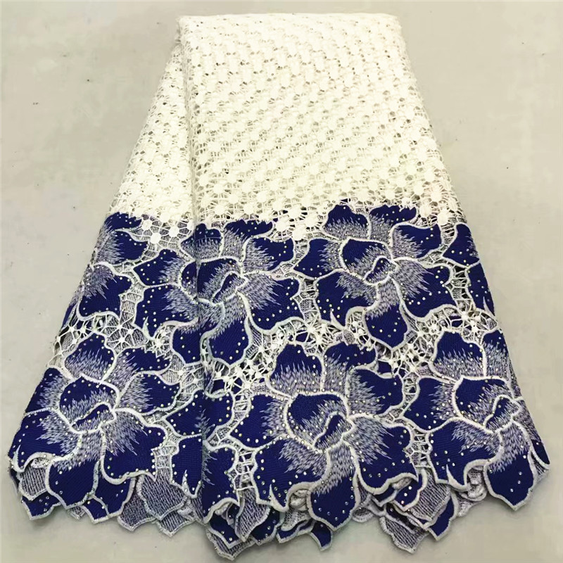 African Cord Lace Fabric High Quality French Guipure Cord Lace Fabric With Stones 2019 New Arrival